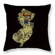 New Jersey Typographic Map 4g Throw Pillow