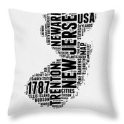 New Jersey Word Cloud 2 Throw Pillow