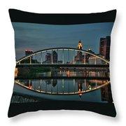 New Main Street Bridge At Dusk - Columbus, Ohio Throw Pillow