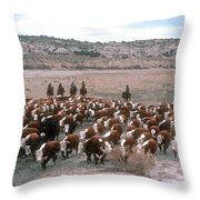 New Mexico Cattle Drive Throw Pillow
