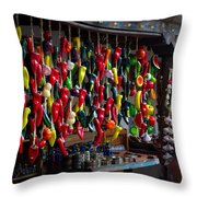 New Mexico Hanging Peppers Throw Pillow