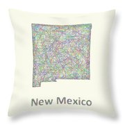 New Mexico Line Art Map Throw Pillow