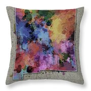 New Mexico Map Color Splatter 5 Throw Pillow