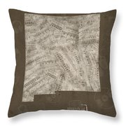 New Mexico Map Music Notes 3 Throw Pillow