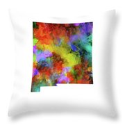 New Mexico Map Watercolor Throw Pillow