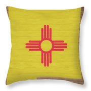 New Mexico Rustic Map On Wood Throw Pillow