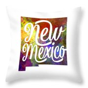 New Mexico Us State In Watercolor Text Cut Out Throw Pillow