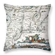 New Netherland Map Throw Pillow