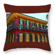 New Orleans Balcony Throw Pillow