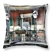 New Orlean's Balcony Throw Pillow