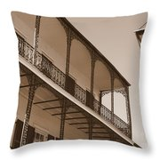 New Orleans Balcony With Lamp Throw Pillow