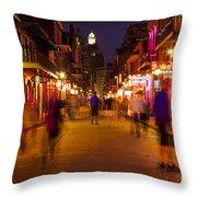 New Orleans, Bourbon Street At Night Throw Pillow by Bryan Mullennix