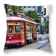 New Orleans Canal Streetcars  Throw Pillow