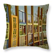 New Orleans Closed Door And A Window Of Many Views Throw Pillow