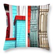New Orleans Doorways Diptych One Throw Pillow