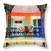 New Orleans French Quarter Balcony Throw Pillow