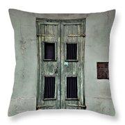New Orleans Green Doors Throw Pillow