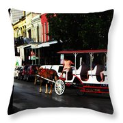 New Orleans Horse Carriage Throw Pillow