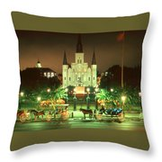 New Orleans Night Photo - Saint Louis Cathedral Throw Pillow