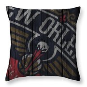 New Orleans Pelicans Wood Fence Throw Pillow