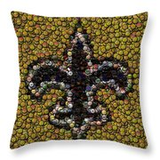 New Orleans Saints  Bottle Cap Mosaic Throw Pillow by Paul Van Scott
