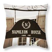 New Orleans Sign - Napoleon House - Sepia Throw Pillow