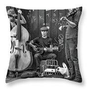 New Orleans Street Musicians Bw Throw Pillow