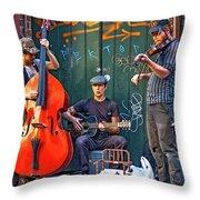 New Orleans Street Musicians Throw Pillow