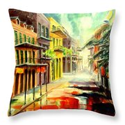 New Orleans Summer Rain Throw Pillow
