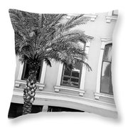 New Orleans Windows - Black And White Throw Pillow