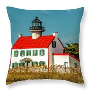 New Paint On East Point Lighthouse Throw Pillow