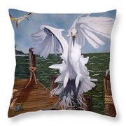 New Point Egret Throw Pillow