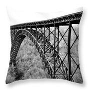 New River Gorge Bridge Bw Throw Pillow