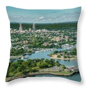 New Rochelle From The Long Island Sound Throw Pillow