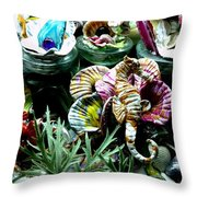 New Seahorse With Coral Imagery Throw Pillow