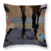 New Shoe Review Horse And Children Painting Throw Pillow