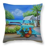 Oistins Rooster Throw Pillow