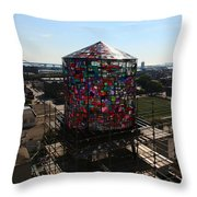 Stained Glass Water Tower In Milwaukee Throw Pillow