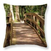 New Wood Bridge Park Trail Throw Pillow