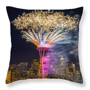 New Year Fireworks - Seattle Throw Pillow