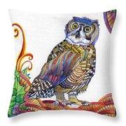 New-year Owl Throw Pillow