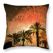 New Years Fireworks Finale San Francisco Throw Pillow