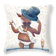 New Years Hog Throw Pillow