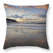 New Year's Morning On Sand Beach Throw Pillow