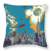 New York America  Skyline - Manhattan Throw Pillow
