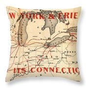 New York And Erie Railroad Map 1855 Throw Pillow