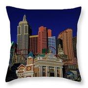 New York Casino At Night Throw Pillow