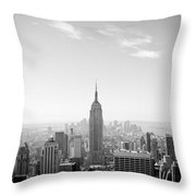 New York City - Empire State Building Panorama Black And White Throw Pillow