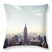 New York City - Empire State Building Panorama Throw Pillow