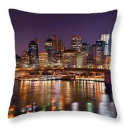 New York City Brooklyn Bridge And Lower Manhattan At Night Nyc Throw Pillow